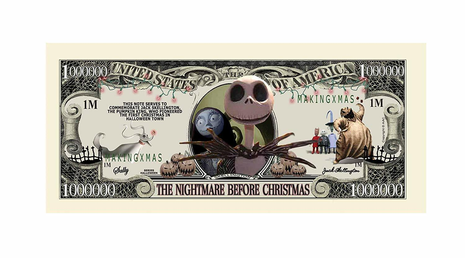 5 Nightmare Before Christmas Collectible Dollar Bill Novelty Note Lot Без бренда - фотография #2
