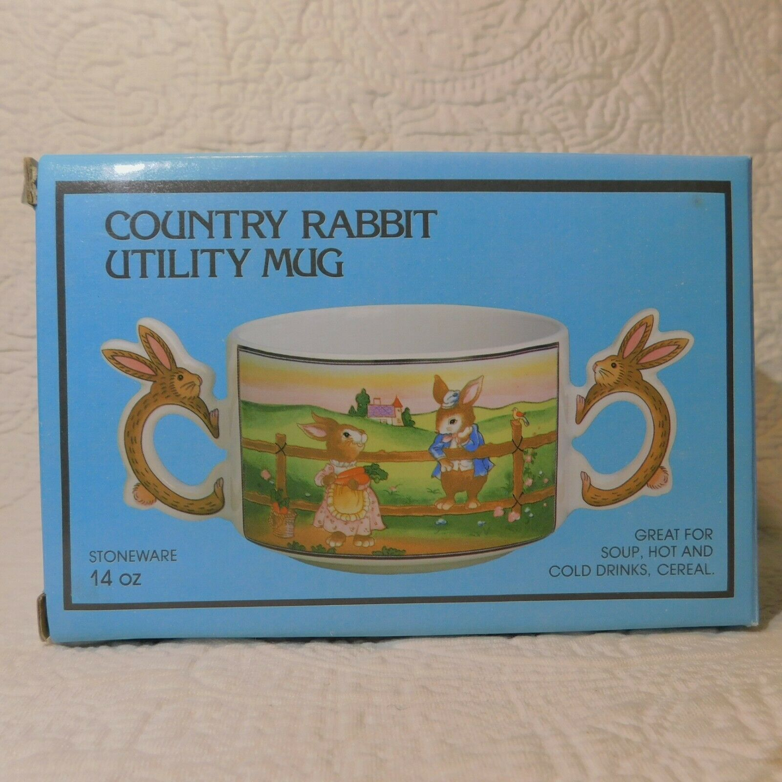 Lot of 2 Vintage 1988 COUNTRY BUNNY RABBIT Utility Mug DOUBLE HANDLE BOWLS Action Industries 22272 - фотография #2