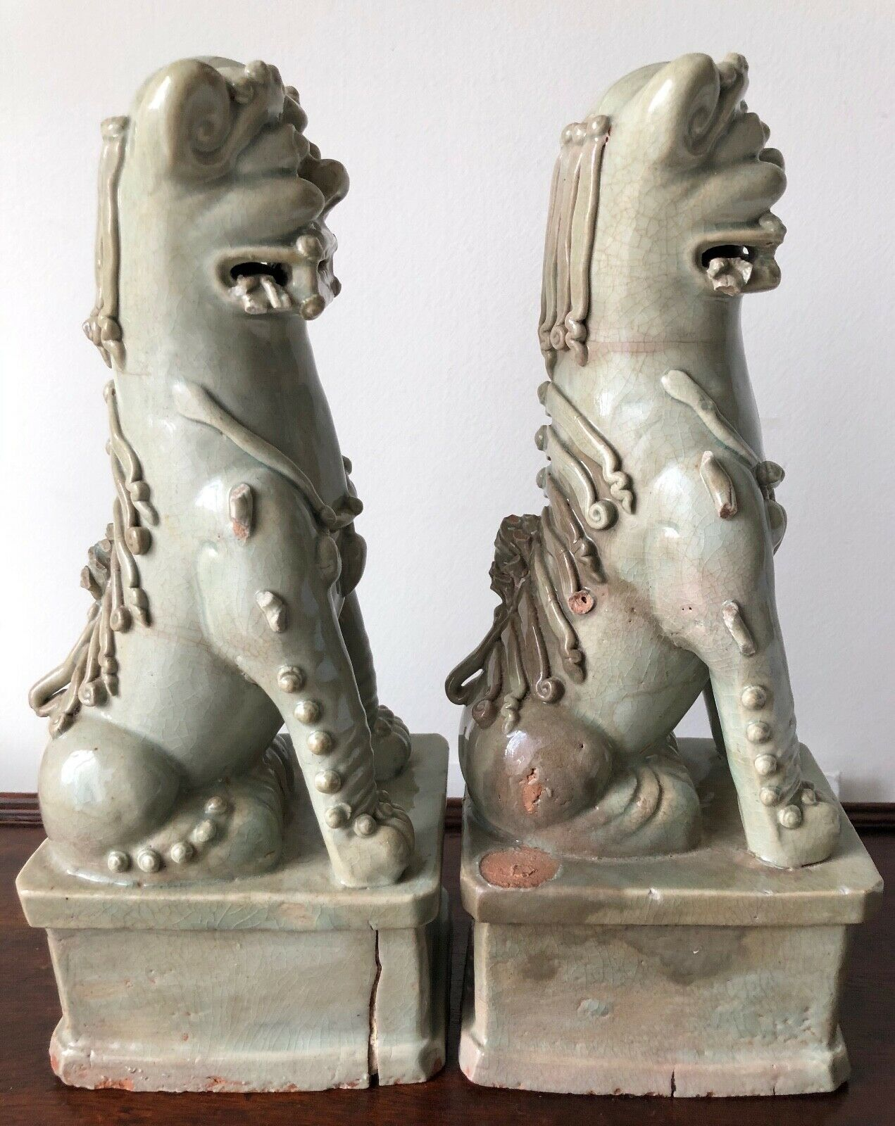 "ANTIQUE CELADON GLAZED TERRA COTTA 12"" FOO LIONS/DOGS-A PAIR Без бренда - фотография #4"