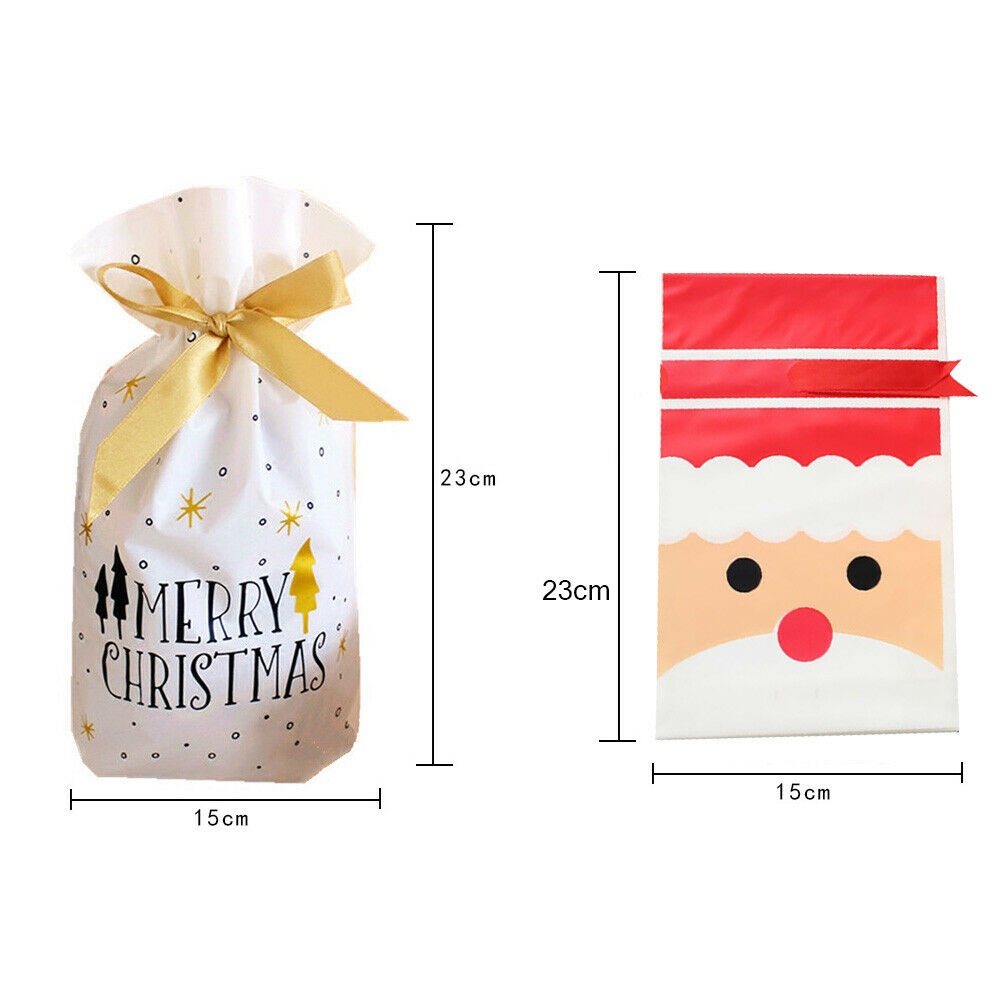 10pcs Christmas Candy Gift Bags Santa Elk Cookies Pouches New Year Xmas Supplies Unbranded - фотография #6