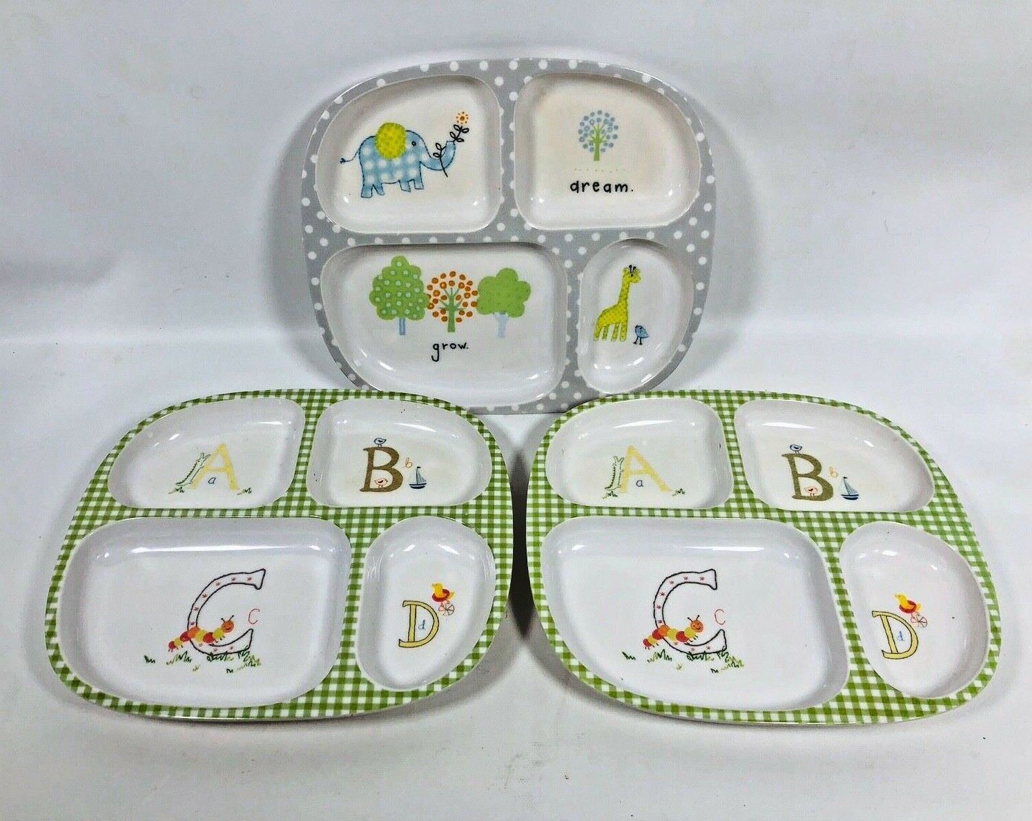 POTTERY BARN KIDS PLATES Set of 3 Divided Melamine Food Trays Animal Print BABY Без бренда