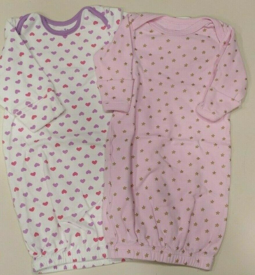 0 - 6 months Infant Baby Girl Sleeper Gowns Hearts and Stars Set of 2 EUC Maybe Baby Kids