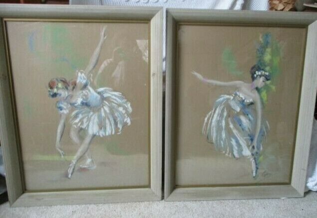 2 ~ LARGE 1950s CYDNEY GROSSMAN framed Hand Colored Lithograph Ballerina Dancers Без бренда