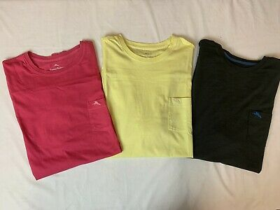 New, Lot of 3, Tommy Bahama Men's Short Sleeve Pocket T-Shirts, Large Tommy Bahama