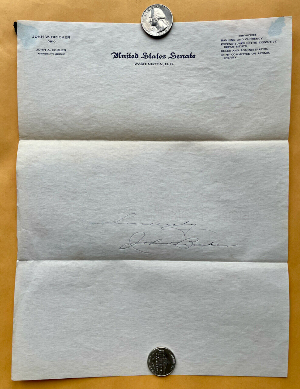 Lot of 2 Ohio 1947 US Senator Autographs from John Bricker & Robert Taft Без бренда