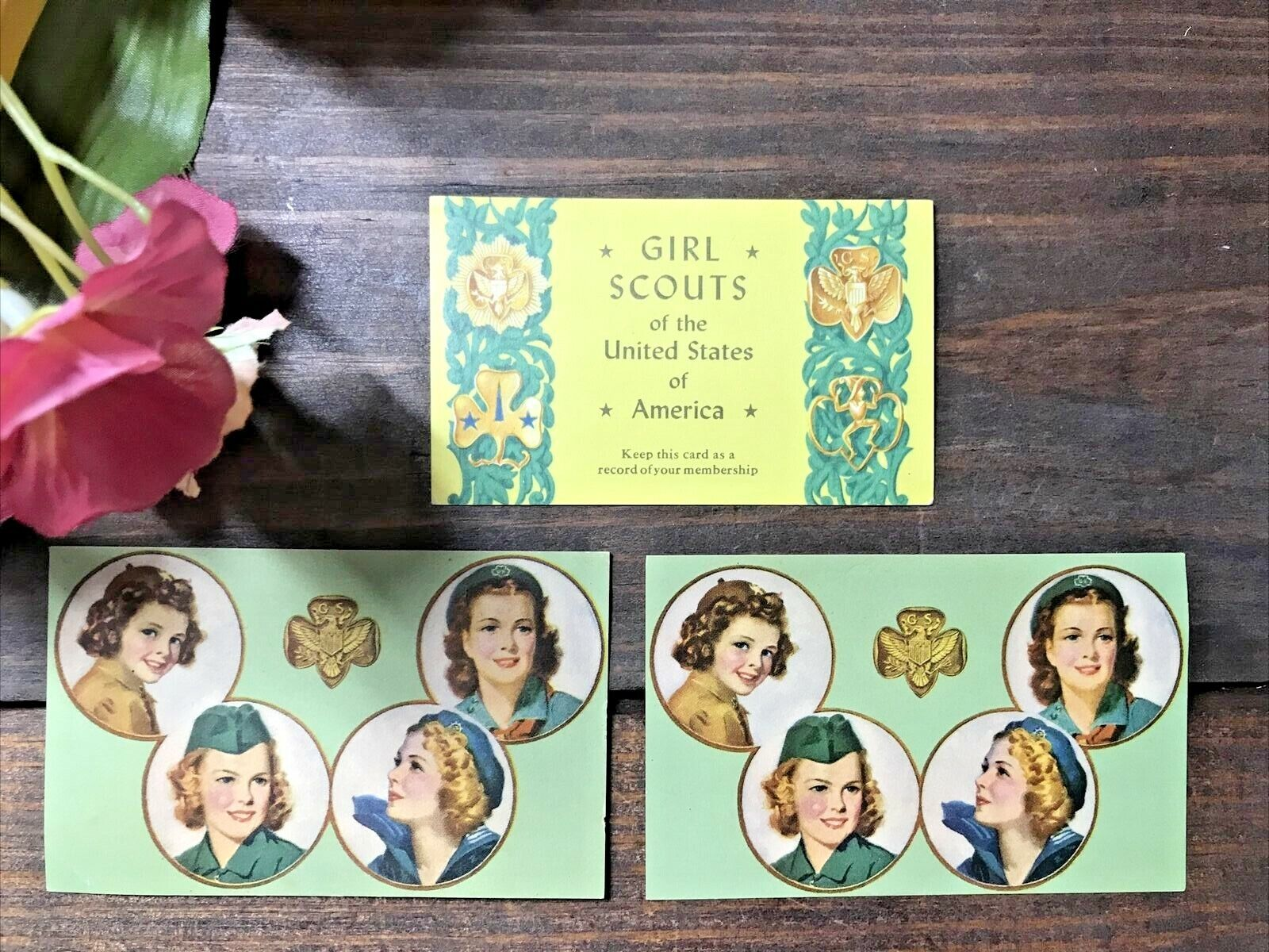 Vintage Girl Scouts of the USA Membership Cards~Set of 3~Mid Century~Excellent! Без бренда