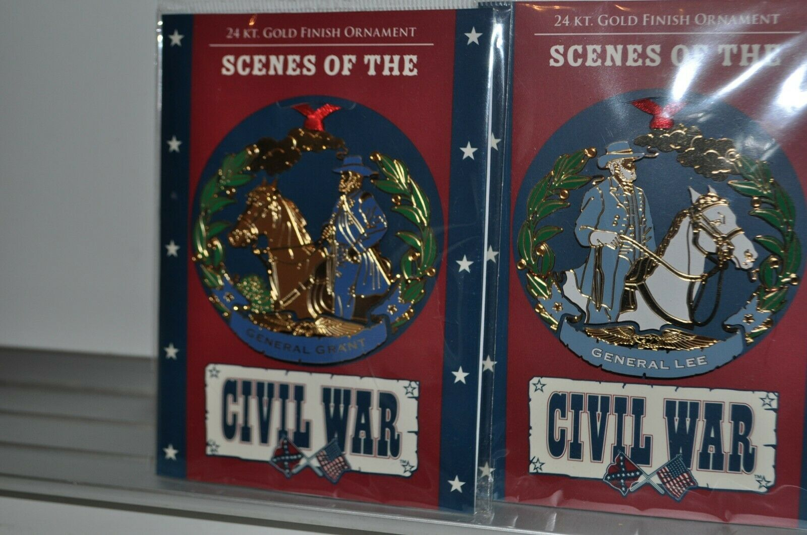 TWO Scenes Of The Civil War  24kt Gold Finish Ornaments General Grant & Lee New Без бренда - фотография #4