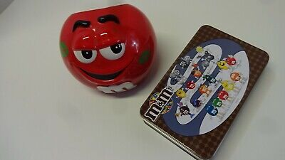 M & M Candy Dispenser Open Bowl Red Cute Smile Kiss On Cheek 2003 + Tin Box Без бренда