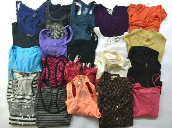 Wholesale Bulk Lot of 20 Womens Large Sleeveless Summer Tops Blouses Shirts Mix Mixed Brand