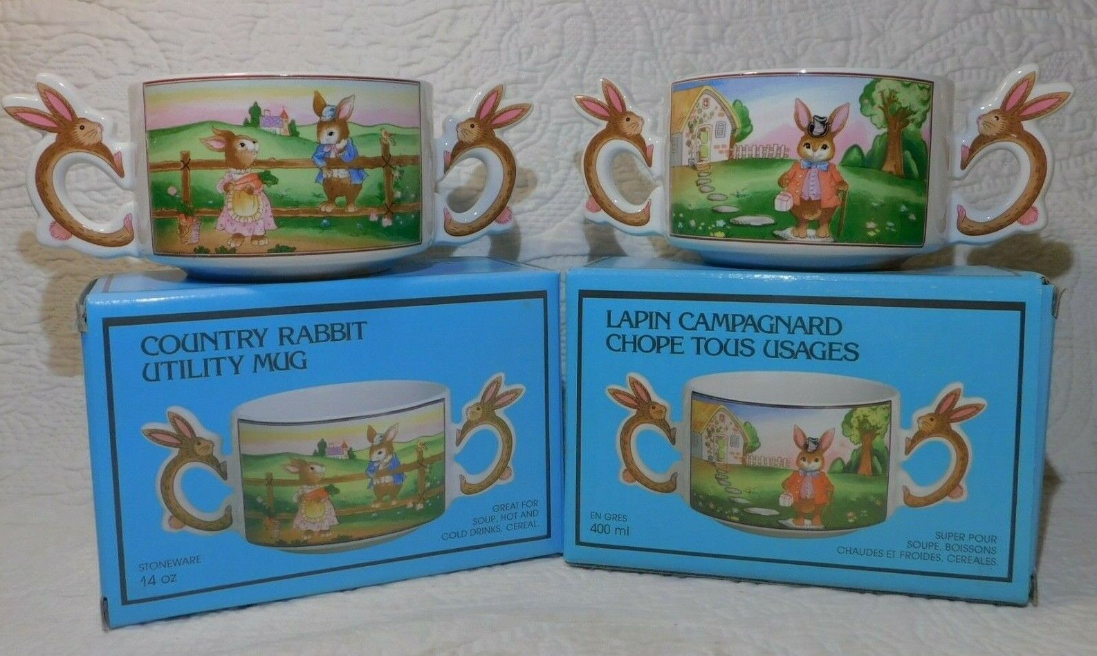 Lot of 2 Vintage 1988 COUNTRY BUNNY RABBIT Utility Mug DOUBLE HANDLE BOWLS Action Industries 22272