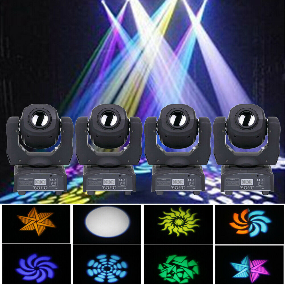 4PCS 80W Moving Head Stage Lighting RGBW Gobos Beam LED Light DMX Disco Party DJ U`King Does not apply