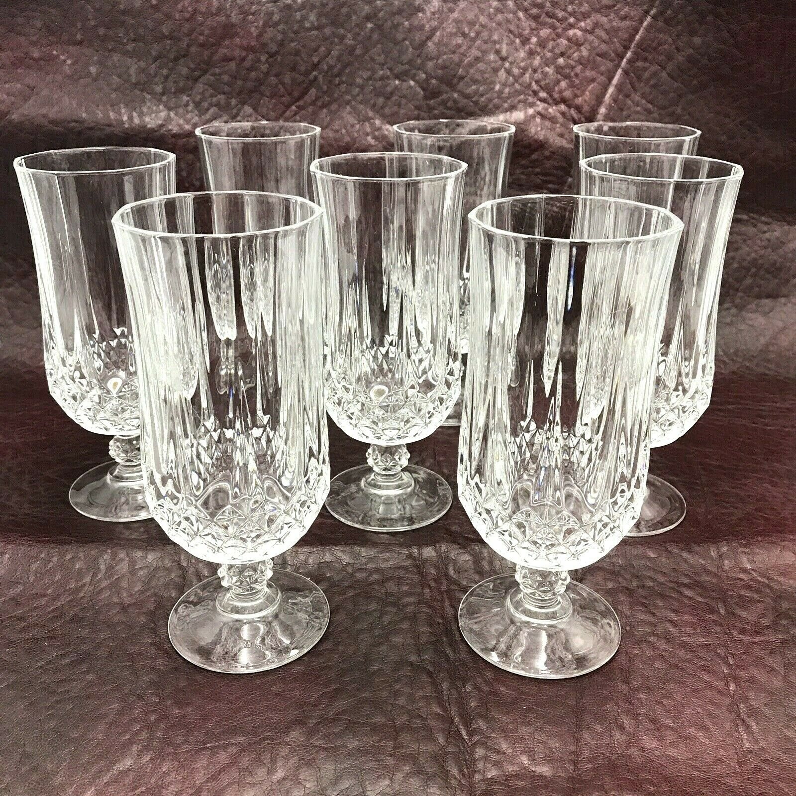 "8 Longchamp Cristal d'Arques 24% Lead Crystal Stemmed Iced Tea Glasses 12 oz 7"" Longchamp"