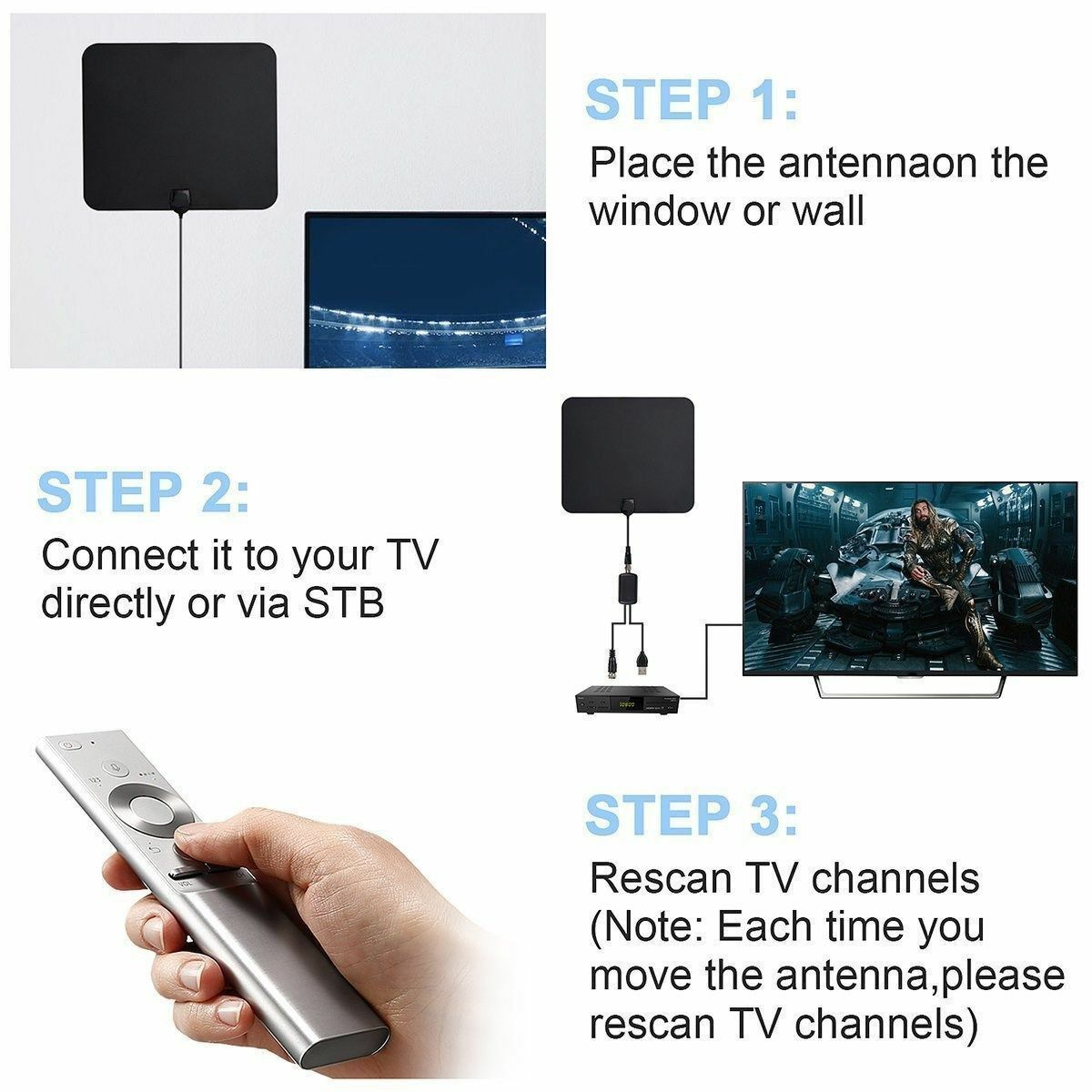 TV Antenna 300 Miles Range Thin Flat Indoor Detachable Amplified HD High Def Fox Does not apply Does Not Apply - фотография #11