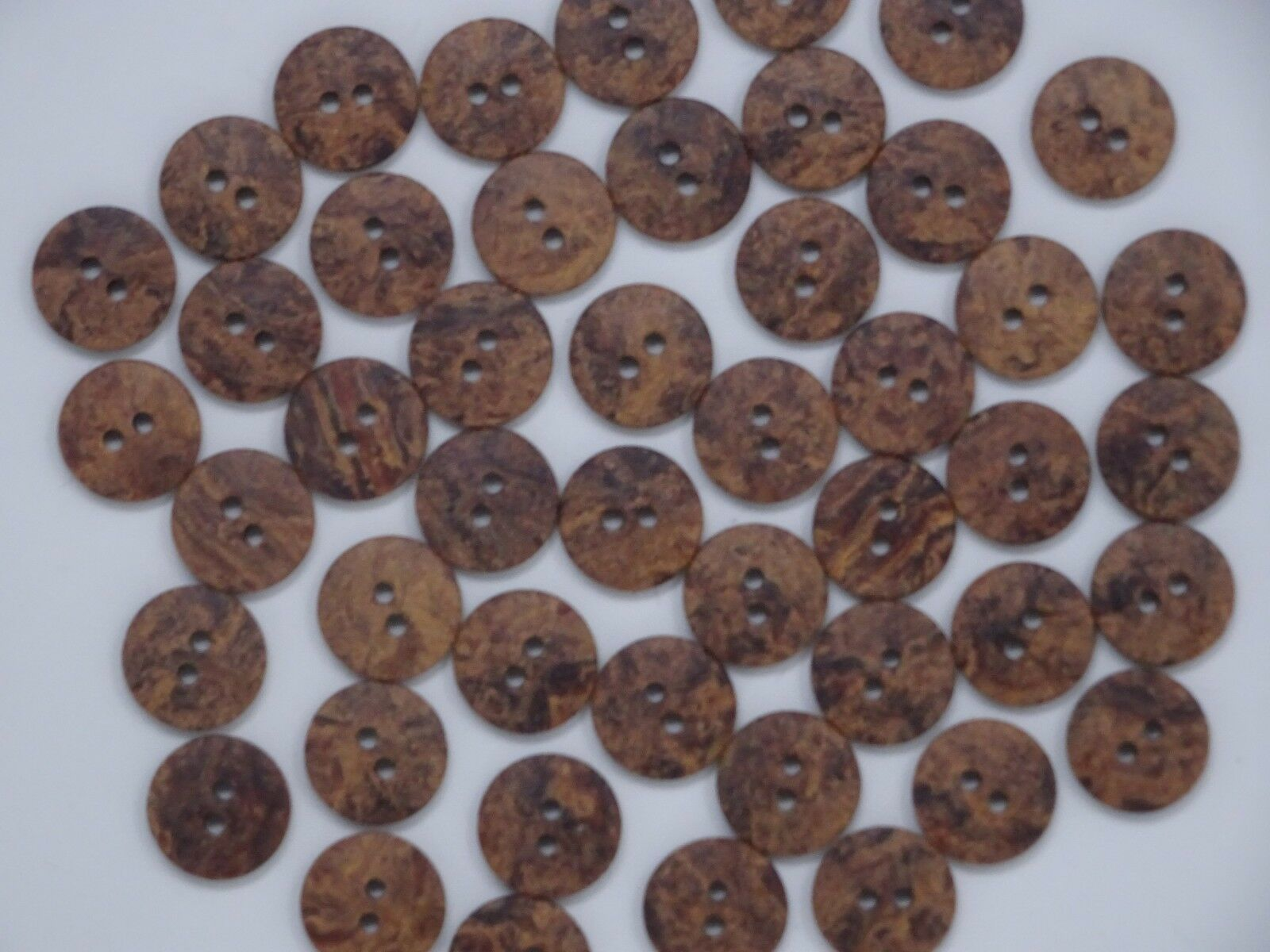 Vintage Brown Black Mottled Round 2-Hole Buttons Textured 15mm Lot of 4 AA9 Unbranded Does Not Apply