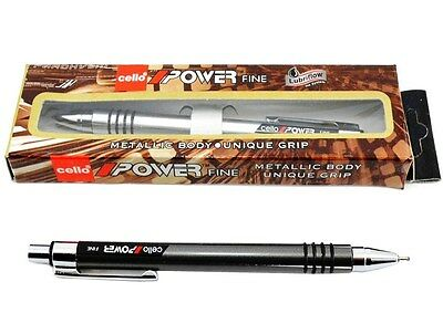 40X Cello POWER Fine Ball Pen Blue 0.7mm Push Button Retractable METALLIC BODY Cello - фотография #2