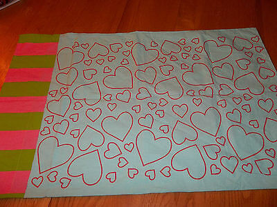 Set of 2 Komboze Little Missmatched Sketchy Hearts Pillow Case {Fabric} Aqua Komboze Sketchy Hearts - фотография #2