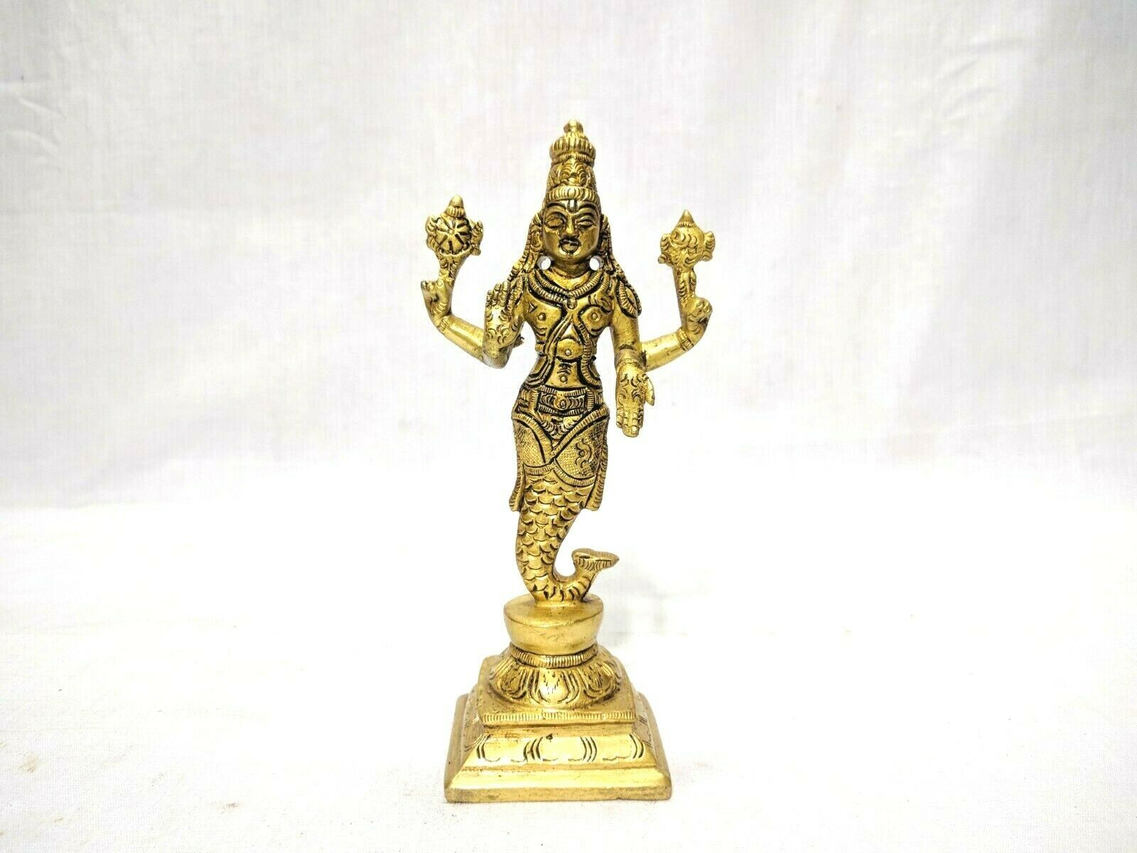 Dashavatar Brass Statue Vishnu Ten Avatar God Pooja Figurine Temple Art Decor Без бренда - фотография #2