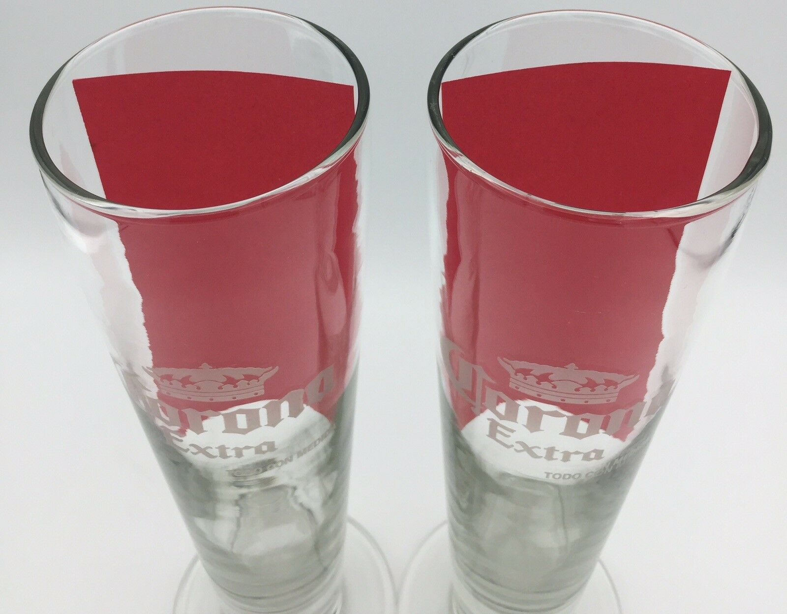"Corona Extra 9"" Tall Beer Glasses Frosted Print Clear 16 oz Pint Bar Set of 2 Corona - фотография #10"