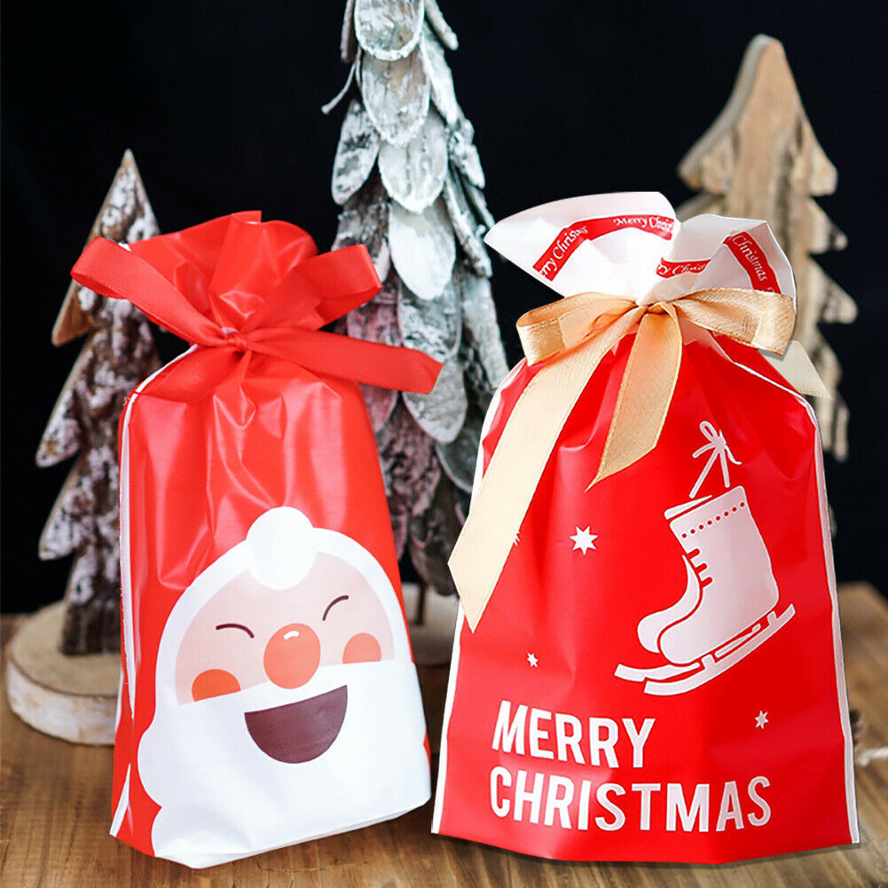 10pcs Christmas Candy Gift Bags Santa Elk Cookies Pouches New Year Xmas Supplies Unbranded - фотография #4
