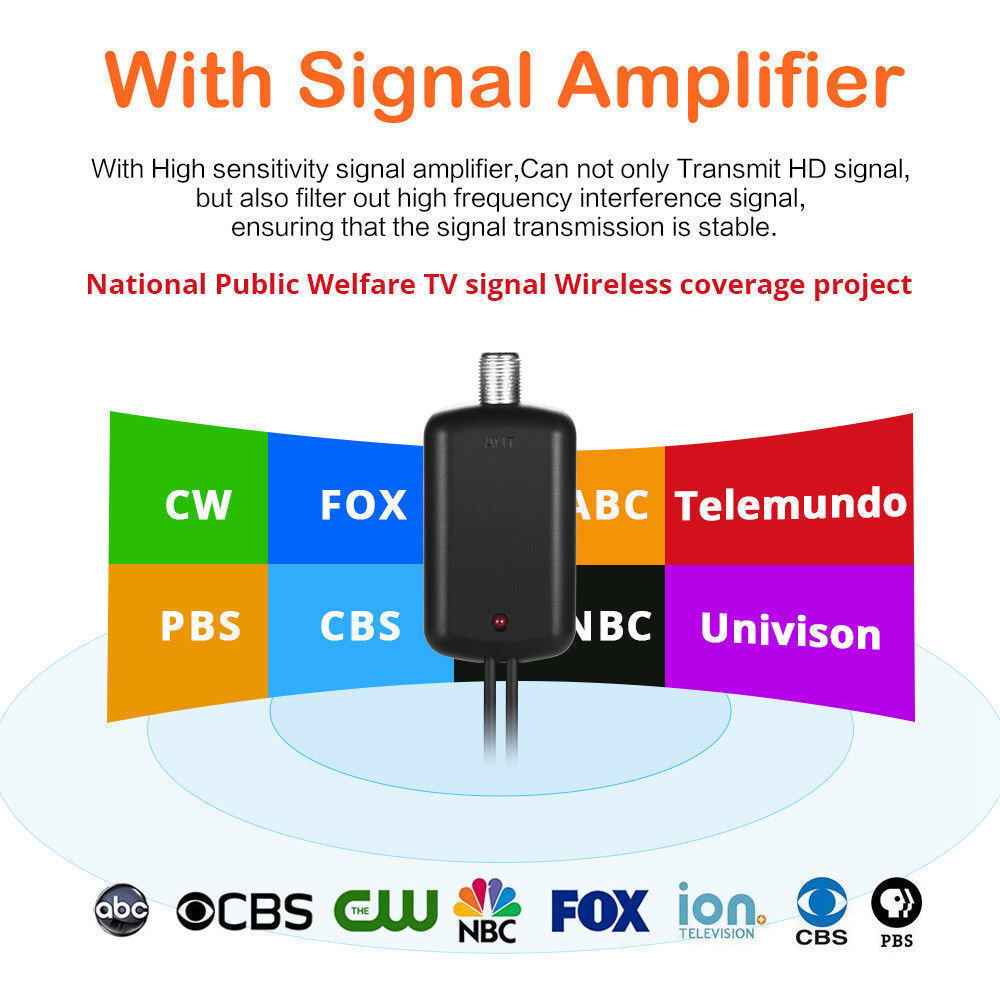 TV Antenna 300 Miles Range Thin Flat Indoor Detachable Amplified HD High Def Fox Does not apply Does Not Apply - фотография #3