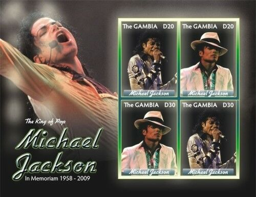 Gambia - Michael Jackson in Memoriam 1958 - 2009 Sheet of 4 Stamps MNH Без бренда