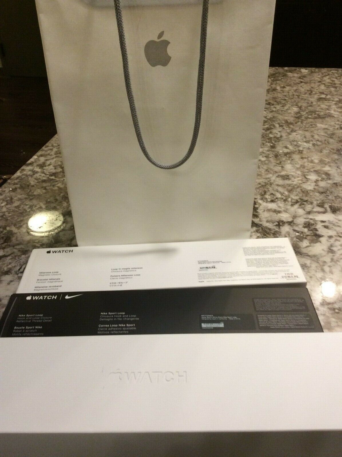 Apple Watch Series 5 Gold aluminum + Gold Mil +Blk. Nike Bands EMPTY BOX ONLY Apple