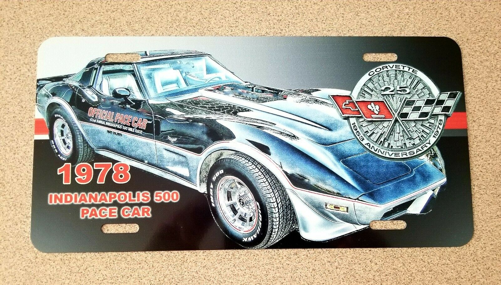 1978 Corvette Pace Car 25th Anniversary Emblem, License Plate, Magazine Route 66 1996 Corvette Fever Magazine