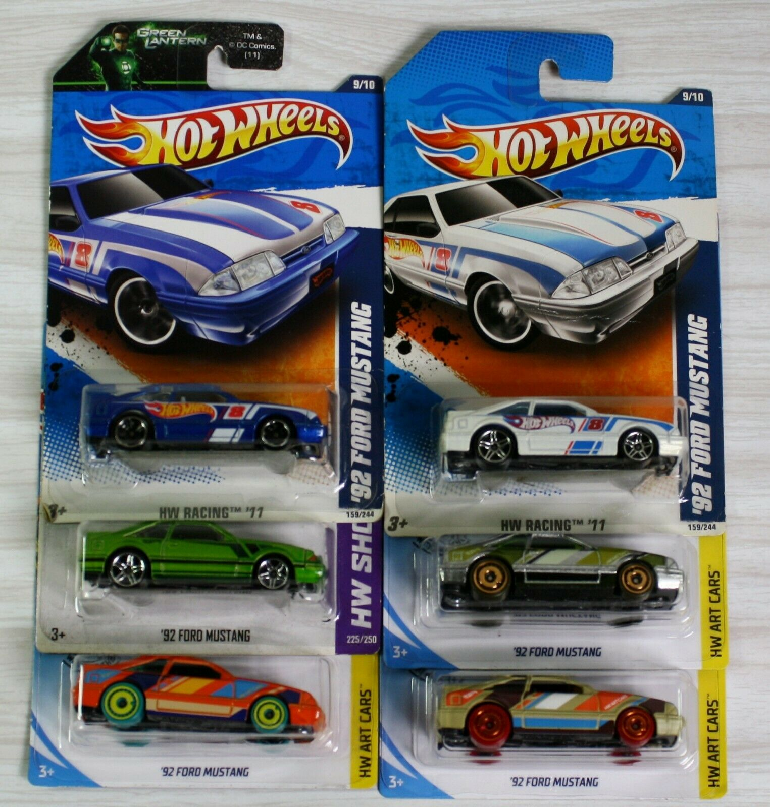 Hot Wheels 1992 Fox Body Mustang Lot of 6 cars. ZAMAC and others Hot Wheels Ford Fox Body Mustang