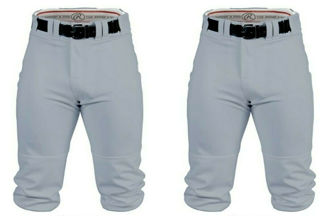 "2 NWT Rawlings YOUTH boys L knee-high KNICKERS gray Baseball Pants 25""Wx14""L LOT Rawlings - фотография #2"
