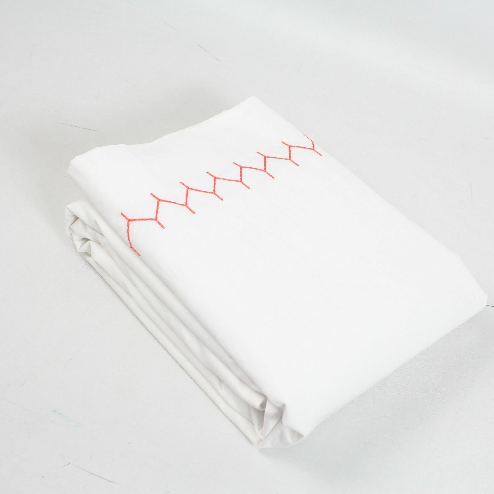 $255 John Robshaw Hand Stitched Embroidery Queen 3pc Sheet Set Pillowcases Coral John Robshaw