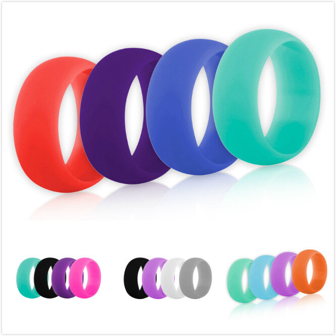 Lot of 4 GOGO Women Men Silicone Ring Pack Sports Wedding Band 9mm Size 5-12 GOGO