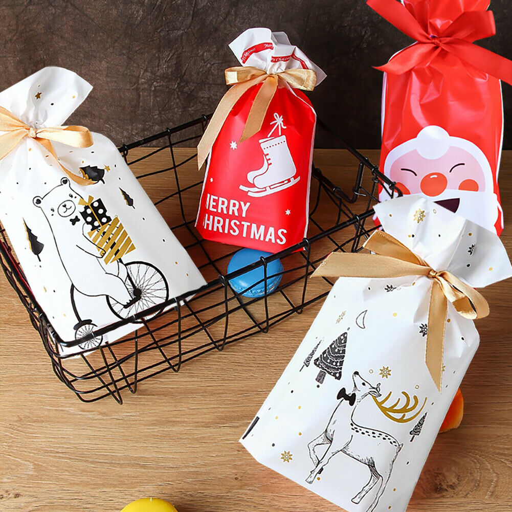 10pcs Christmas Candy Gift Bags Santa Elk Cookies Pouches New Year Xmas Supplies Unbranded - фотография #5