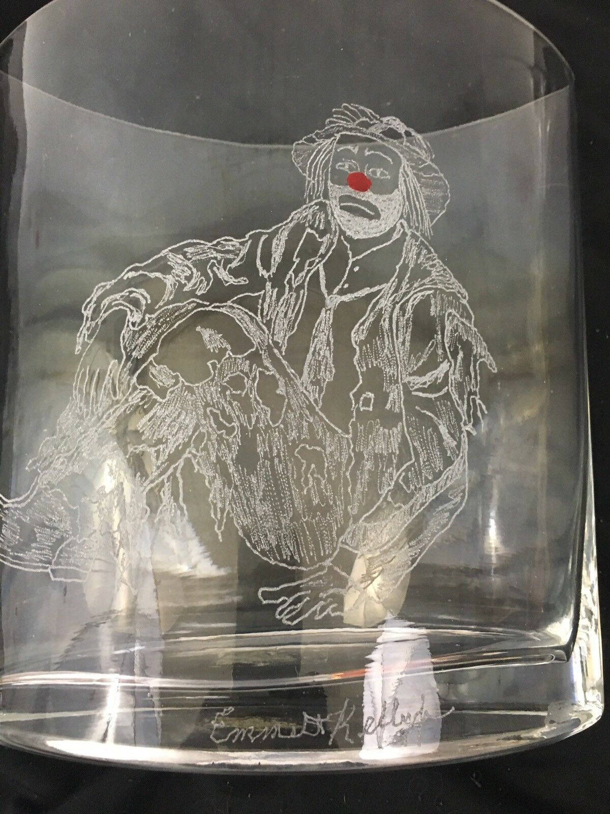 One Of A Kind Vases Hand Etched With Emmett Kelly Images Set Of 6 Без бренда - фотография #2