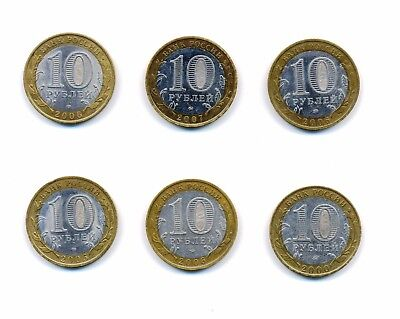 6pcs set of Russia 10 Roubles 2000-2007 Bimetal Commemorative Coins rare jubilee Без бренда