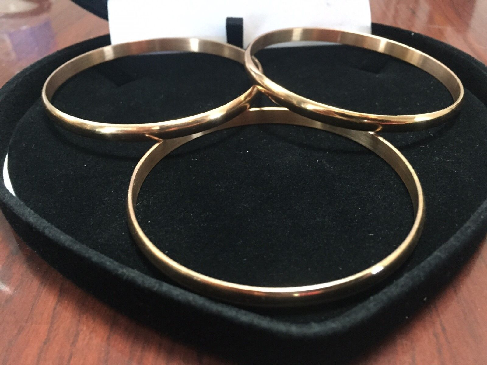 WOMENS 14K & STS*  YELLOW GOLD CUFF BANGLE BRACELET SET OF 3 SZ 8 INCH  + BONUS! Без бренда