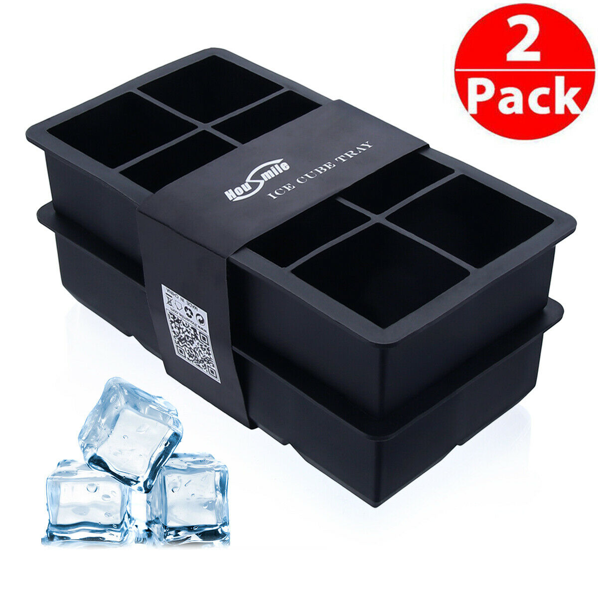 Housmile 8 Cavity Whiskey Big Ice Cube Tray Large Silicone Maker Mold Mould 2Pcs Housmile Does Not Apply