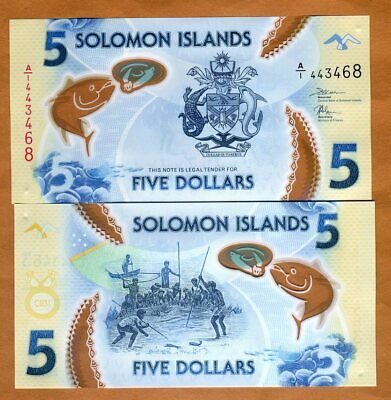 Solomon Islands, $5, ND (2019), P-New A/1-Prefix, Polymer, UNC Без бренда