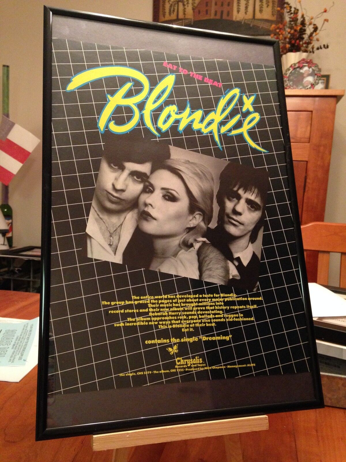 "BIG 11X17 FRAMED BLONDIE ""EAT TO THE BEAT"" LP ALBUM PROMO AD+ REMASTERED CD too! Без бренда"