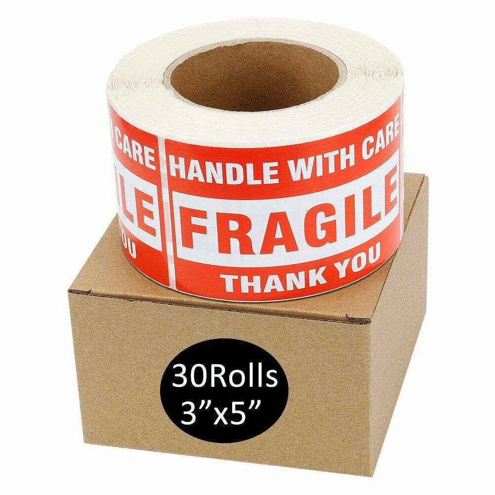 30 Roll 500/Roll Large 3x5 Fragile Stickers Handle with Care Shipping Labels Red Unbranded/Generic Does Not Apply