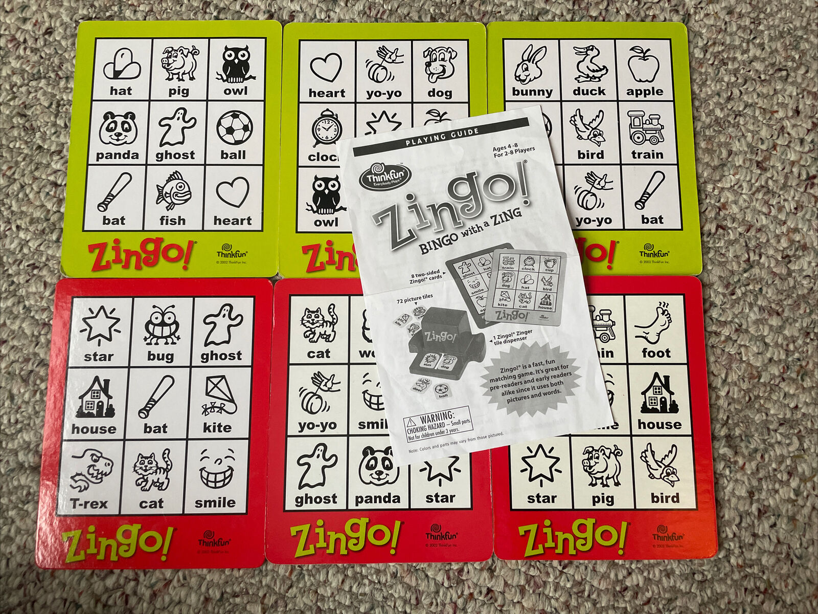 Zingo! Bingo with a Zing Game By Thinkfun REPLACEMENT 6 CARDS ONLY - Parts lot  ThinkFun Does not apply