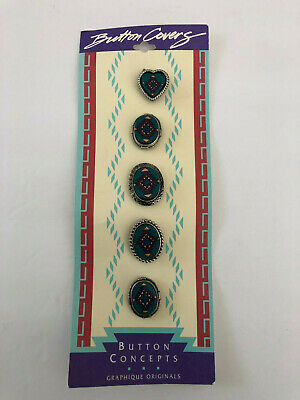 Lot of 2 Sets Turquoise / Southwestern Button Covers, Julie Rose Button Concepts Button Concepts - фотография #2