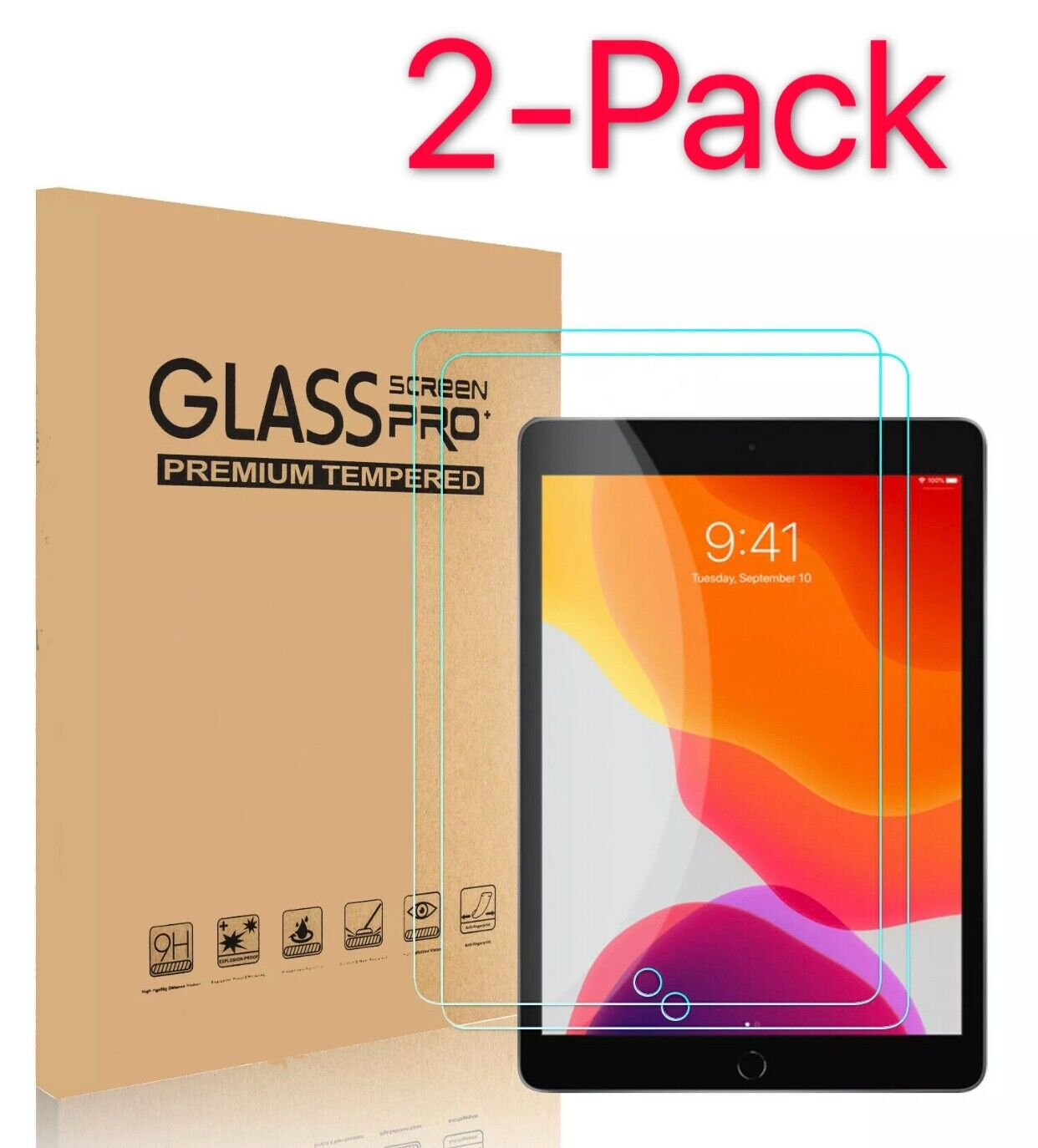 [2-Pack] Tempered GLASS Screen Protector for Apple iPad 6th Generation 2018 Unbranded Does Not Apply