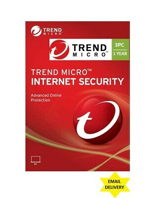 Lot of 10 - Trend Micro Internet Security 2020 Version (1 Year for 3 PCs)  Trend Micro