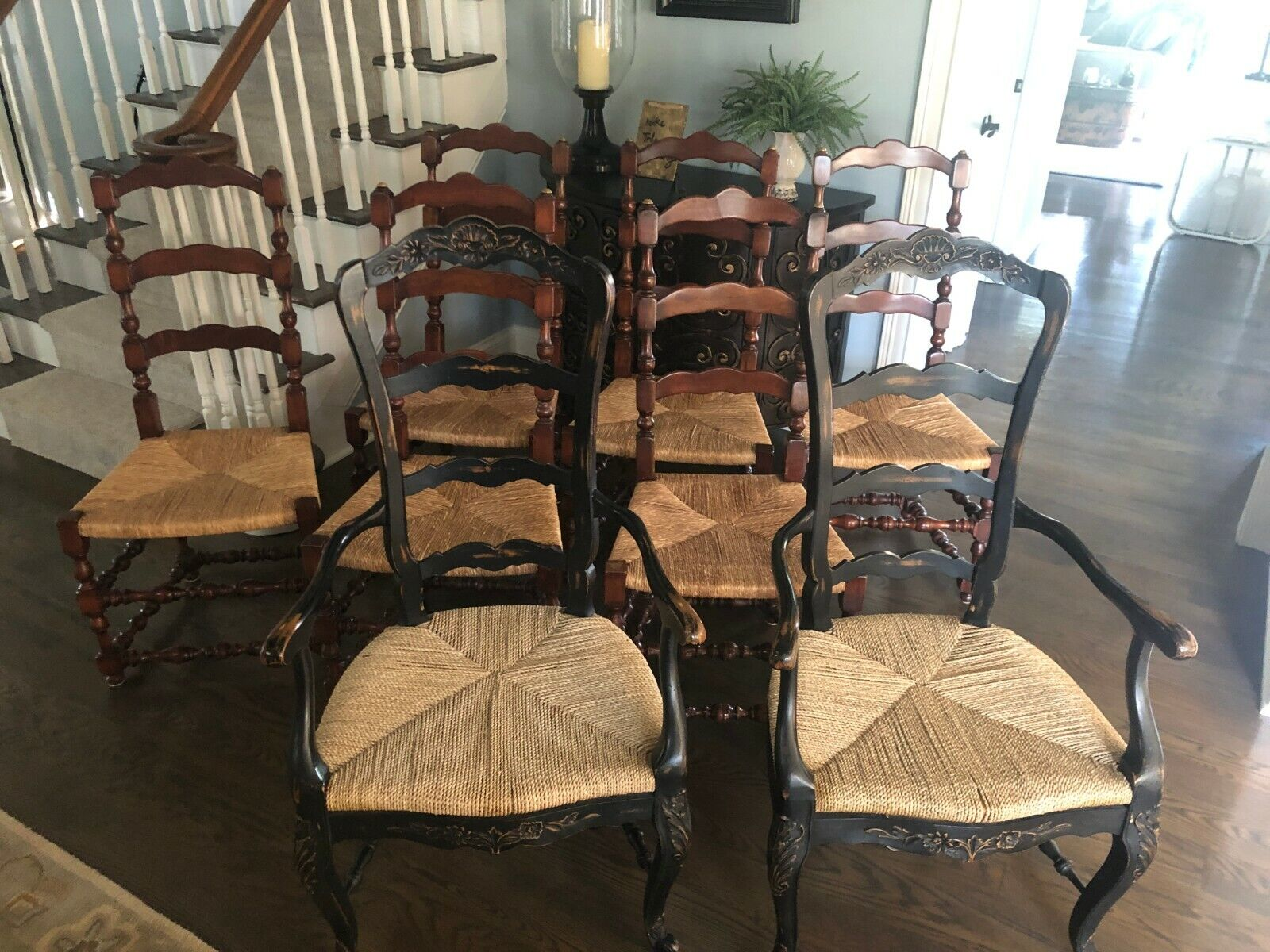 French Country Farmhouse Ladderback Dining Rush Seat Chairs from Marie Albert Без бренда