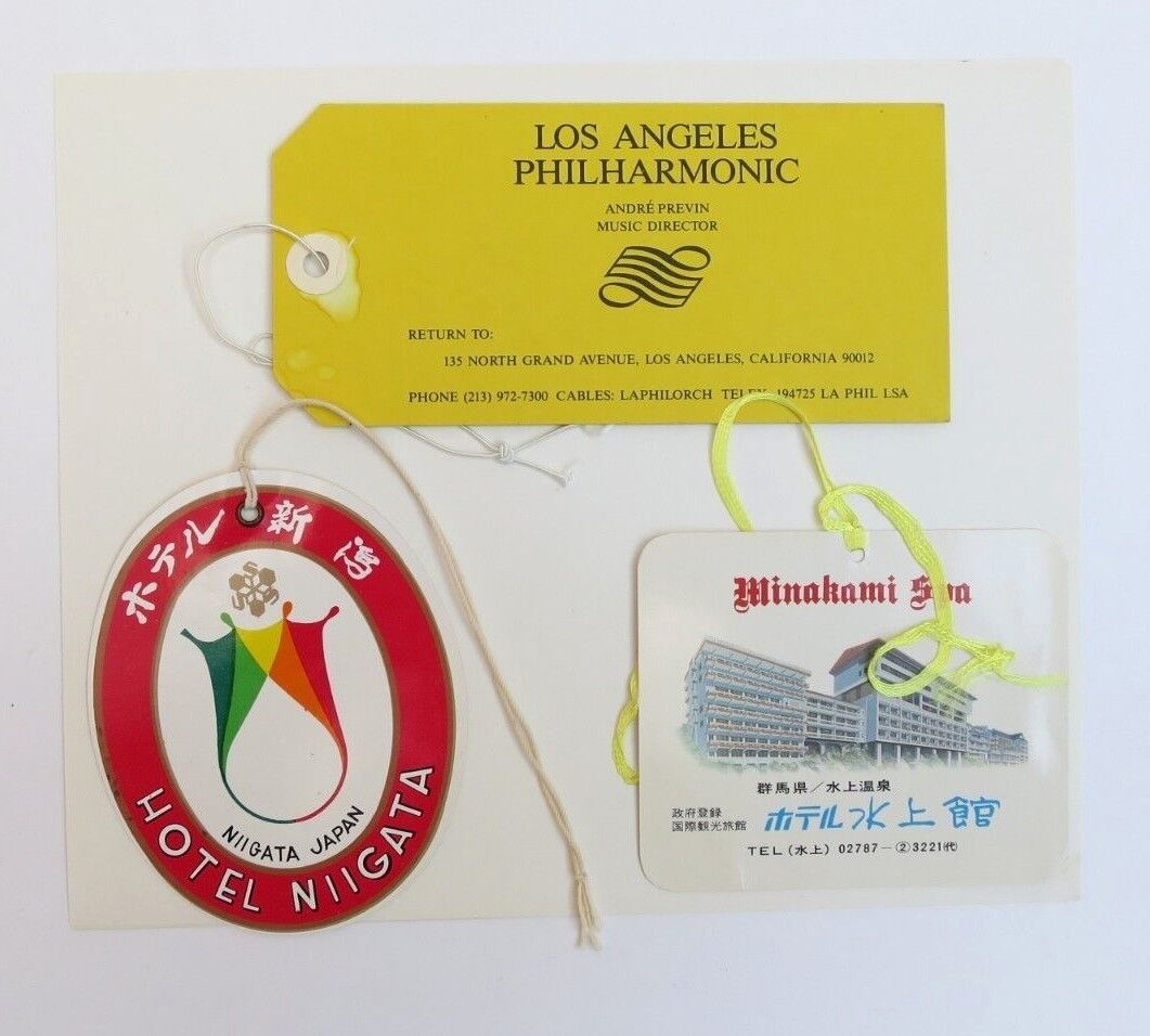 Lot of 3 Vintage Luggage Labels Japan Hotels LA Philharmonic Tie-on Labels Lot#2 Без бренда