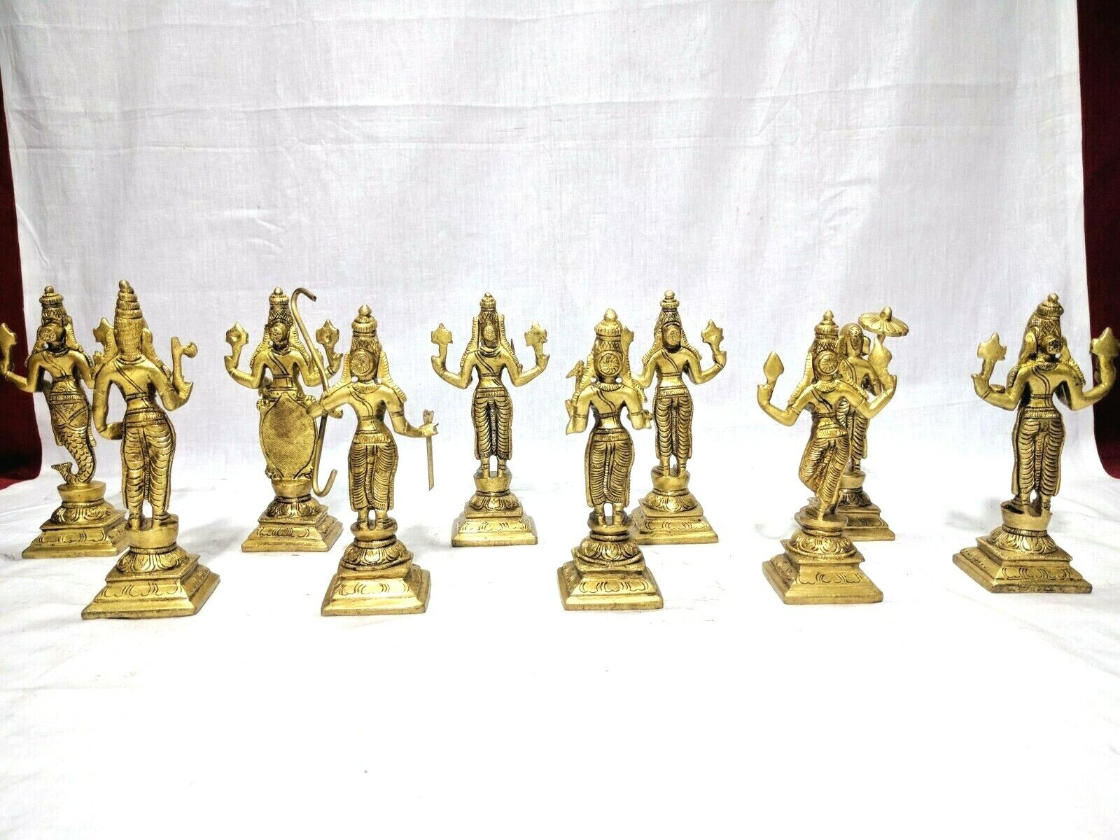 Dashavatar Brass Statue Vishnu Ten Avatar God Pooja Figurine Temple Art Decor Без бренда - фотография #12