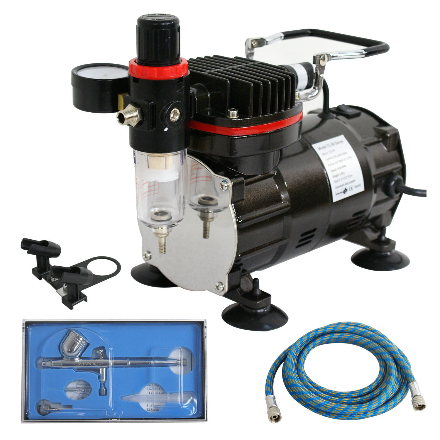New Airbrush Kit Single Cylinder Piston Air Compressor Dual-Action Hobby Set Segawe GSD-D1-1226A - фотография #2