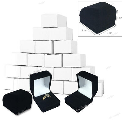 12pc Black Ring Gift Boxes Black Velvet Ring Boxes Jewelry Boxes Cufflinks Boxes Unbranded