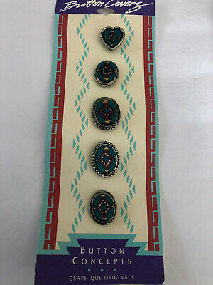 Lot of 2 Sets Turquoise / Southwestern Button Covers, Julie Rose Button Concepts Button Concepts - фотография #6