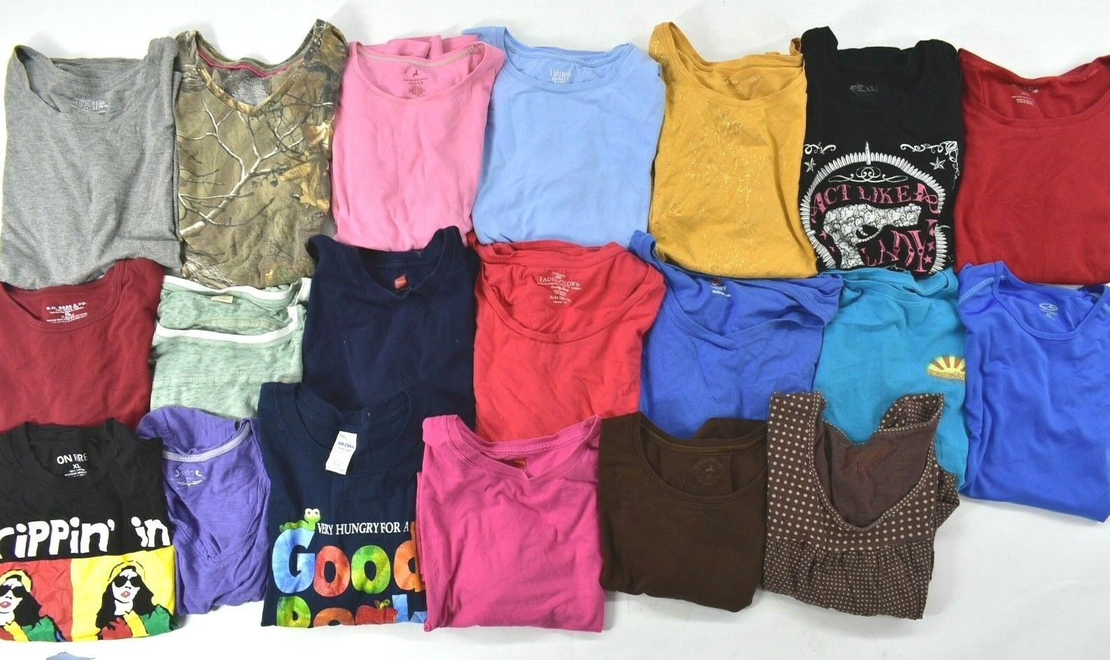Wholesale Bulk Lot of 20 Womens XL Short Sleeve T-Shirts Casual Spring Summer Mixed Brand